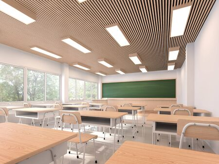 Foto de Modern contemporary classroom 3d render,The rooms have white walls and floors, wooden ceilings, decorated with wooden tables and chairs, large windows overlooking natural views. - Imagen libre de derechos