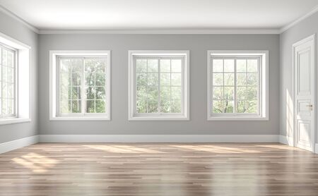 Photo pour Classical empty room interior 3d render,The rooms have wooden floors and gray walls ,decorate with white moulding,there are white window looking out to the nature view. - image libre de droit