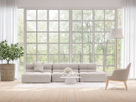 Photo pour Moderm living room with blurry nature view background 3d render,There light wooden floor and large window overlooking to garden view. - image libre de droit