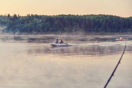 Photo pour Feeder fishing on the Northern Dvina river - image libre de droit