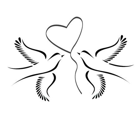 Illustration pour Dove or lovebirds with heart - image libre de droit