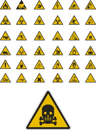 Abstract vector warning and safety signs