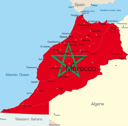 Abstract vector color map of Morocco country colored by national flag