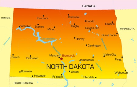 Vector color map of North Dakota state. Usa