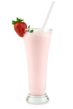 fresh strawberry milkshake isolated on white