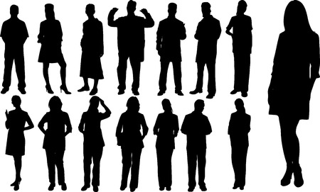 Abstract vector people silhouette on white
