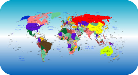 Vector colorful political map of the World