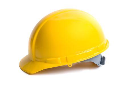 Yellow helmet isolated on white background