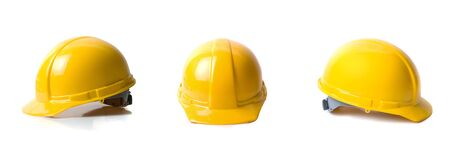 Yellow helmets set isolated on white background