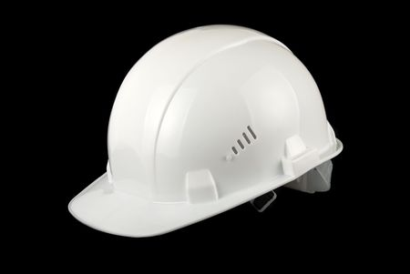 White helmet isolated on a black background