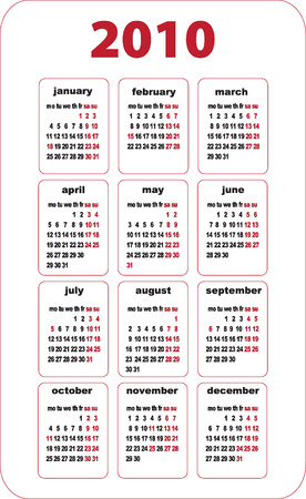 Calendar 2010 grid illustration on English: Royalty-free
