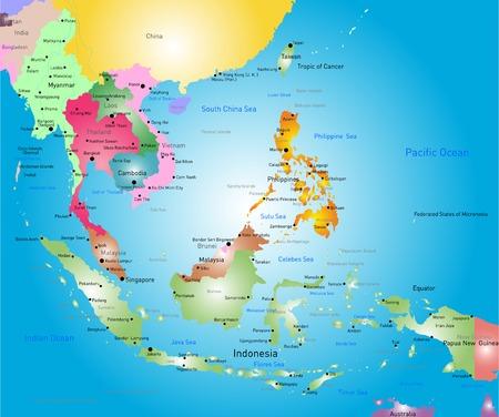 Illustration pour Vector color southeast asia map - image libre de droit