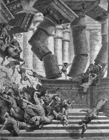 The death of Samson  1  Le Sainte Bible  Traduction nouvelle selon la Vulgate par Mm  J -J  Bourasse et P  Janvier  Tours  Alfred Mame et Fils  2  1866 3  France 4  Gustave Doré