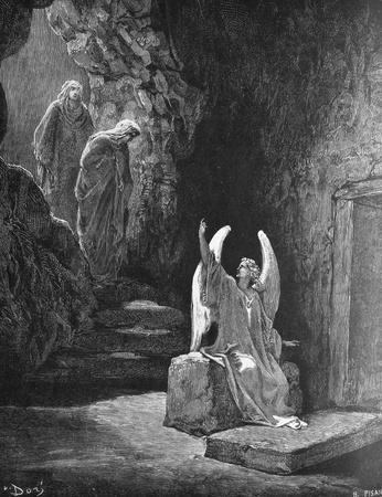 The angel at the tomb of the Lord  1  Le Sainte Bible  Traduction nouvelle selon la Vulgate par Mm  J -J  Bourasse et P  Janvier  Tours  Alfred Mame et Fils  2  1866 3  France 4  Gustave Doré