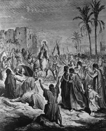 Entry into Jerusalem  1  Le Sainte Bible  Traduction nouvelle selon la Vulgate par Mm  J -J  Bourasse et P  Janvier  Tours  Alfred Mame et Fils  2  1866 3  France 4  Gustave Doré