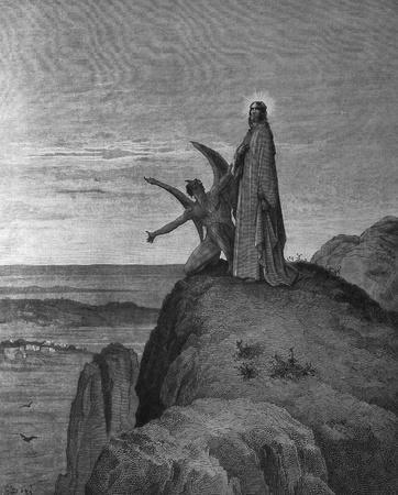 The Temptation of Jesus  1  Le Sainte Bible  Traduction nouvelle selon la Vulgate par Mm  J -J  Bourasse et P  Janvier  Tours  Alfred Mame et Fils  2  1866 3  France 4  Gustave Doré