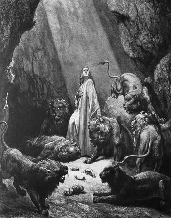 Daniel in the lions pit  1  Le Sainte Bible  Traduction nouvelle selon la Vulgate par Mm  J -J  Bourasse et P  Janvier  Tours  Alfred Mame et Fils  2  1866 3  France 4  Gustave Doré