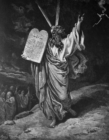 Moses and the commandments  1  Le Sainte Bible  Traduction nouvelle selon la Vulgate par Mm  J -J  Bourasse et P  Janvier  Tours  Alfred Mame et Fils  2  1866 3  France 4  Gustave Doré