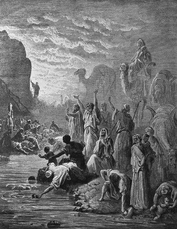 A miracle  And there was water  1  Le Sainte Bible  Traduction nouvelle selon la Vulgate par Mm  J -J  Bourasse et P  Janvier  Tours  Alfred Mame et Fils  2  1866 3  France 4  Gustave Doré