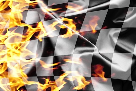 Finish flag on fire
