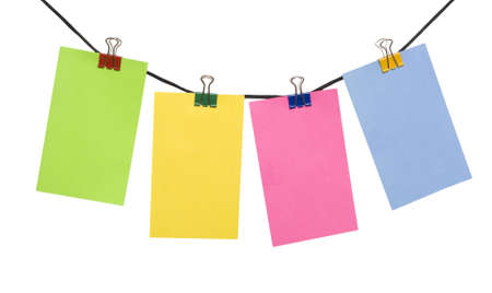 color paper notes on the rope over white
