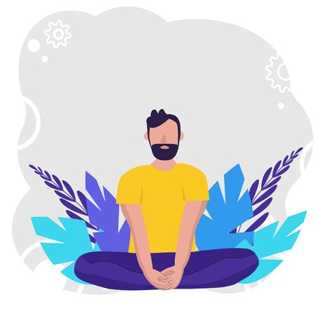 Man doing yoga for Yoga Day Celebration on background in nature. Concept illustration for yoga, meditation, relax, recreation, healthy lifestyle. Vector illustration in flat.