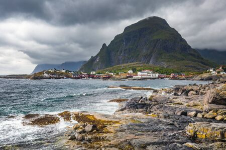 """Rugged beach at Å (meaning """"stream"""") is a village in Moskenes Municipality in Nordland county, Norway. This is last town on Lofoten islands by highway called King Olav's Road.の素材 [FY310138524095]"""