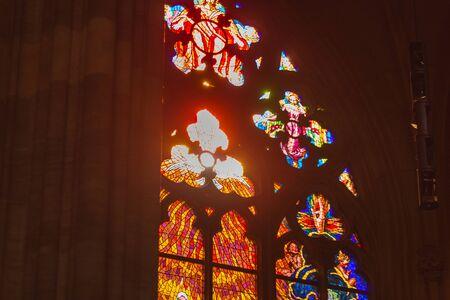 Foto de Stained glass of St. Vitus Cathedral in Prague, Czech Republic. - Imagen libre de derechos