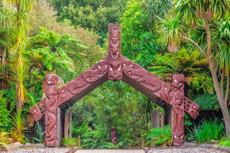 Photo for Traditional maori carving at Rotorua, New Zealand - Royalty Free Image