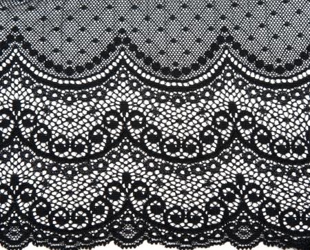 Photo pour Decorative black lace on insulated white background - image libre de droit