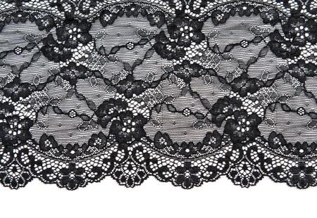 Photo pour Black lace with pattern with form flower on white background - image libre de droit