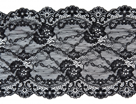 Photo pour Black lace with pattern in the manner of flower on white background - image libre de droit