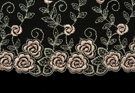 Photo pour Rose lace with pattern in the manner of flower on black background - image libre de droit