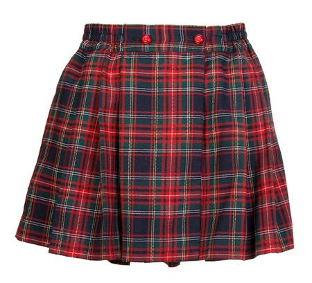 Plaid red feminine skirt on white background