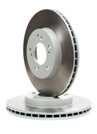 Set of new brake discs for the car. Isolate on white
