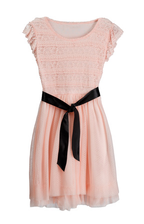 Pink dress with black belt. Isolate on white.