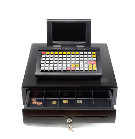 A modern cash register on a white background. Drawer is open.