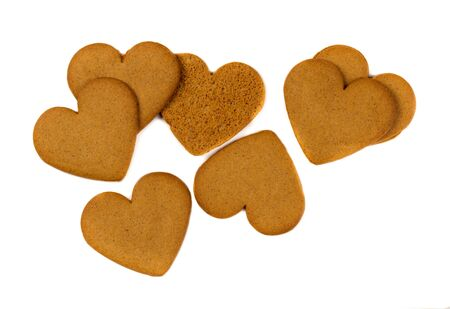 Photo pour Gingerbread cookie in the shape of heart. Isolate on white. - image libre de droit