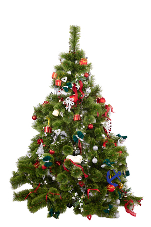 Photo for Beautiful christmas tree with colorful ornaments isolated on a white background, studio shot - Royalty Free Image