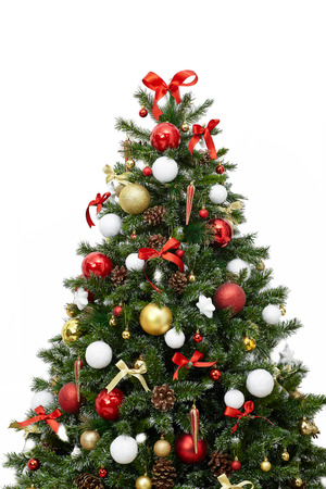 Photo pour Beautiful christmas tree with colorful ornaments isolated on a white background, studio shot - image libre de droit