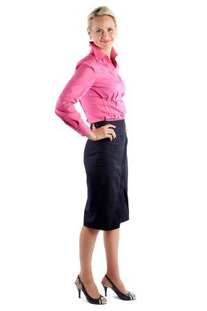 Photo pour Full length portrait of a  businesswoman isolated on white background - image libre de droit