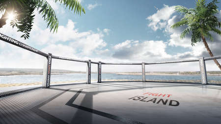 Photo pour Fight island. Fighting Championship. Location of the MMA tournament on the Yas island Abu Dhabi. Octagon on the island. Panorama - image libre de droit