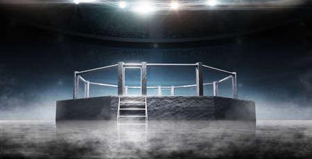 Foto für MMA Ocnagon. Bottom view. Sport. Fighting Championship. Fight night. MMA octagon on the light - Lizenzfreies Bild