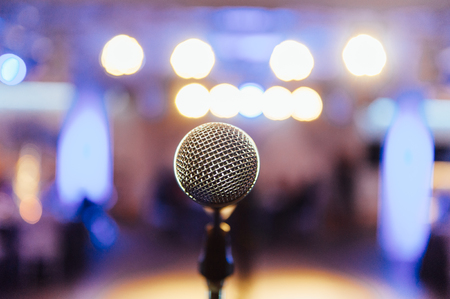 Photo for Microphone on blurred of speech in seminar room - Royalty Free Image