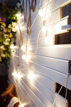 Photo for Beautiful retro luxury light lamp decor glowing. Garland Light Bulb. - Royalty Free Image