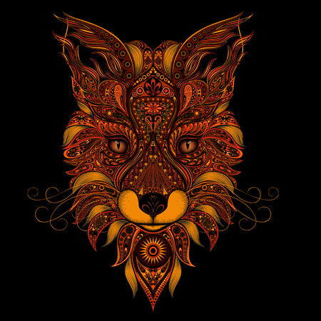 Illustration pour Fox red vector on black background - image libre de droit