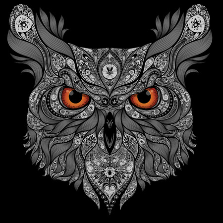 Illustration pour Abstract vector owl with orange eyes - image libre de droit