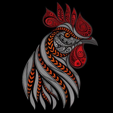 Illustration pour fiery rooster on a black background - image libre de droit