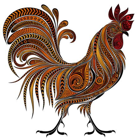 Illustration pour Beautiful fire cock by New year 2017 - image libre de droit
