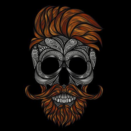 Ilustración de Red dead hipster with a beard and mustache. human skull made of flowers - Imagen libre de derechos